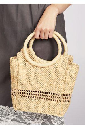 MARAINA LONDON ROSETTE small raffia tote bag in natural