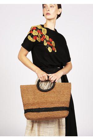 MARAINA LONDON LOU brown and black raffia tote bag