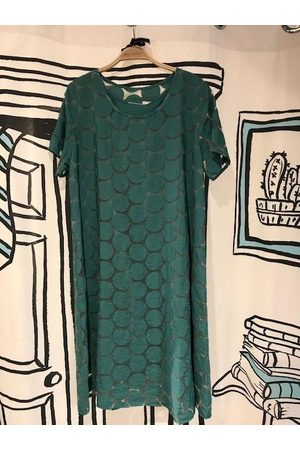 Out Of Xile Spot Sheer Midi Dress in Teal
