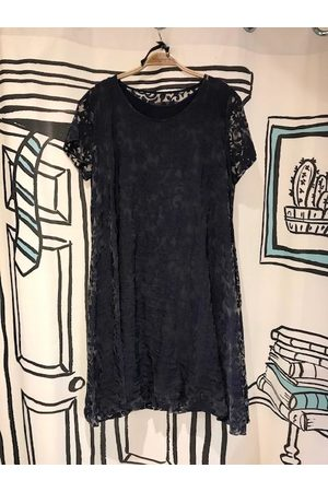 Out Of Xile Vintage Sheer Balloon Dress in Navy