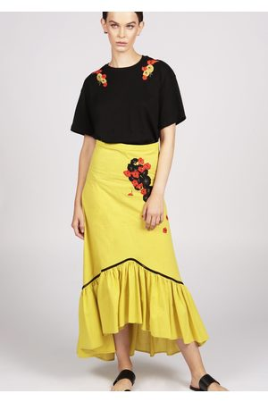 MARAINA LONDON Women Midi Skirts - MALLORIE cotton midi skirt with ruffle hem and handmade embroidery- in