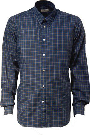 LEATHERSMITH OF LONDON Navy Check 100% Cotton Shirt