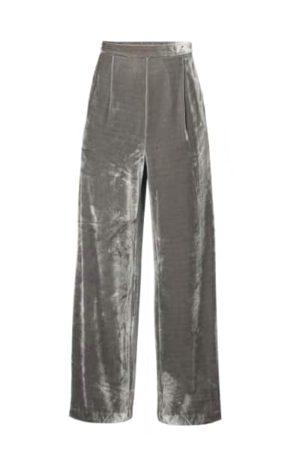 Paisie Grey Velvet Palazzo Trousers With Side Zip