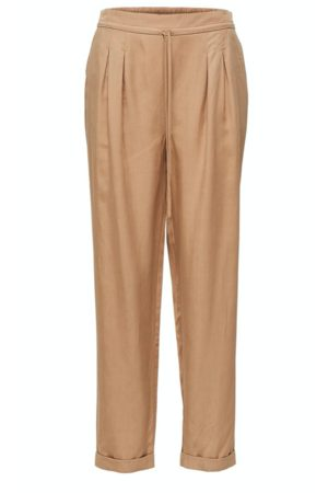 Selected Tannin Pleated Loose Fit Trousers