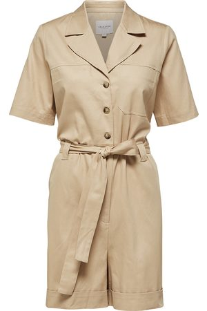 Selected Women Playsuits - SLFWave 2/4 Shorts Playsuit in Sand