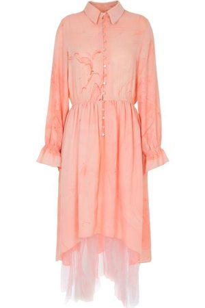 Edward Mongzar Marbled Silk Button Up Dress