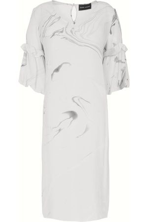 Edward Mongzar Hand Marbled Silk Tunic Dress - & Grey