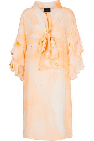 Edward Mongzar Bow Neck Marbled Silk Dress - or Blue