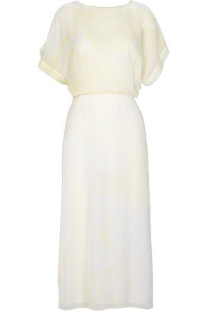 Edward Mongzar Hand Marbled Silk Misty Dress - or Grey