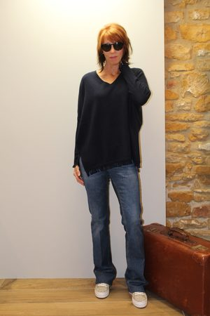 Not Shy Fringed Jumper in Navy