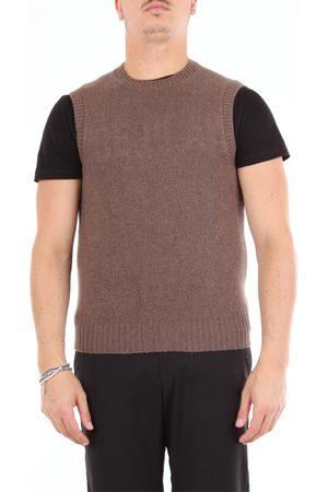 BARBA Men Tank Tops - Tobacco color crew-neck vest