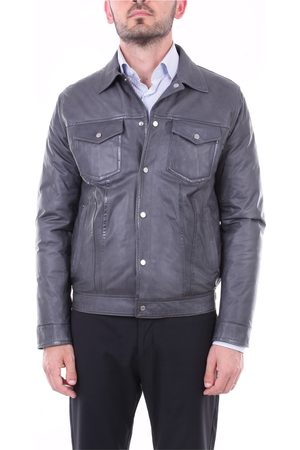 BARBA Men Leather Jackets - Solid color leather jacket