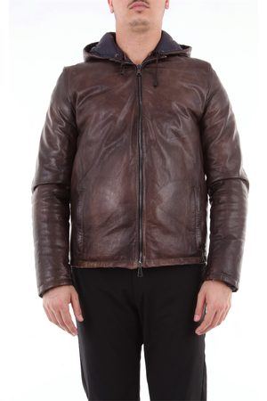 Angelo Marino Leather jacket with hood padded with goose down