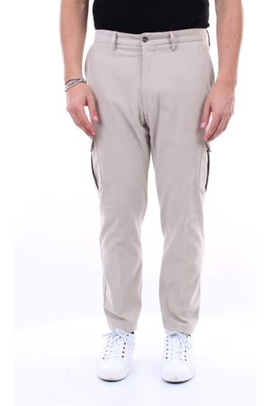BARBA Trousers with slim fit solid color cargo pockets