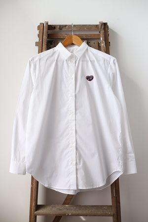 Maison Labiche Heart Patch White Boyfriend Shirt