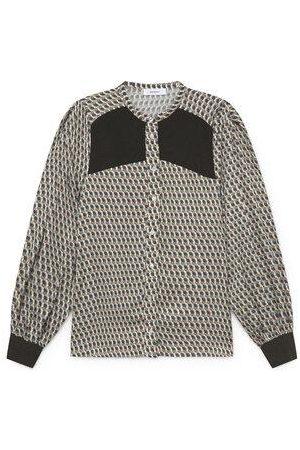 Sita Murt Geometric print shirt with knitted breast panel & cuffs