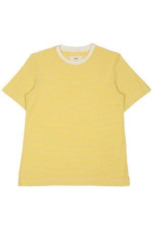 FOLK CLOTHING FOLK 1X1 Stripe Tee - LIGHT GOLD / ECRU - PORTUGUESE COTTON