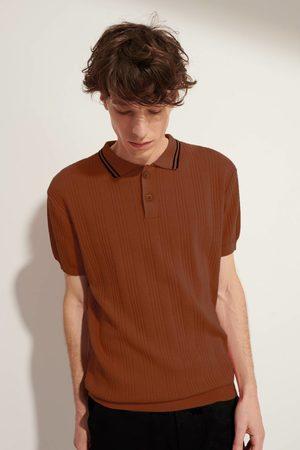 LE MONT SAINT MICHEL MSM Cotton Crepe Ribbed Polo Sweater - TERRACOTTA
