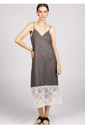 MARAINA LONDON MARION grey cotton lace midi-dress