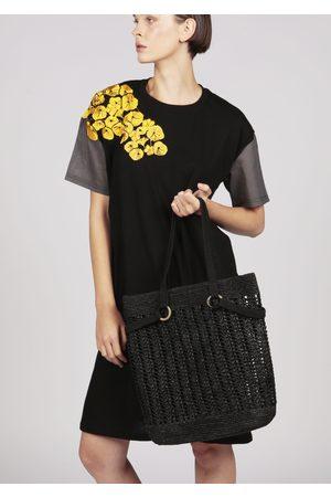 MARAINA LONDON SOPHIE black woven raffia tote beach bag