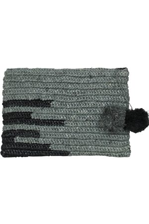 MARAINA LONDON OLIVIA large raffia evening clutch bag with pompoms in grey and black