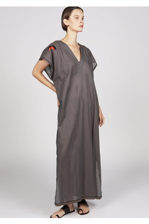MARAINA LONDON ELIOT grey poplin cotton Kaftan dress with handmade embroidery