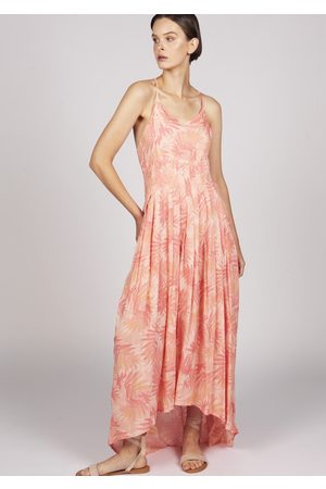 MARAINA LONDON Women Party Dresses - Marguerite printed pleated dip-hem maxi cocktail dress