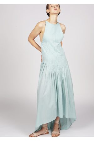 MARAINA LONDON SALLY green pleated dip-hem maxi evening dress with slender straps