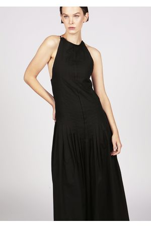 MARAINA LONDON SALLY black pleated dip-hem maxi evening dress with slender straps