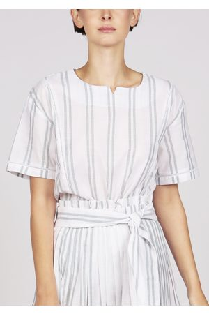 MARAINA LONDON Women Short sleeves - DARLENE striped lace trim short sleeves cotton blouse