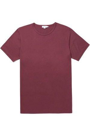 Sunspel Cotton Modal Lounge T-Shirt - BURGUNDY - LAST PIECE