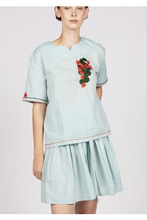MARAINA LONDON RAPHAELLE light green short sleeves cotton blouse with handmade embroidery