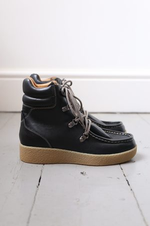 Isabel Marant Alpica Black Leather Hiking Boots