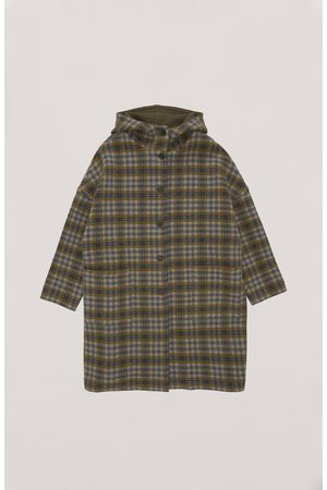 YMC Cocoon Hood Coat - OLIVE CHECK