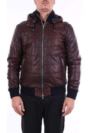 BARBA Solid color leather jacket