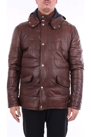 BARBA Long solid color leather jacket