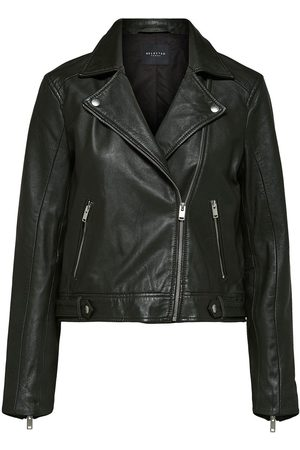 Selected Cropped Katie Leather Jacket in Green/Rosin