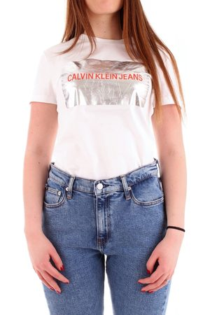 Calvin Klein WOMEN'S J20J210328WHITE COTTON T-SHIRT