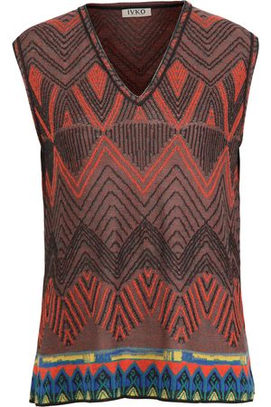Ivko Women Tank Tops - Brocade V Neck Sleeveless Jumper in SS21