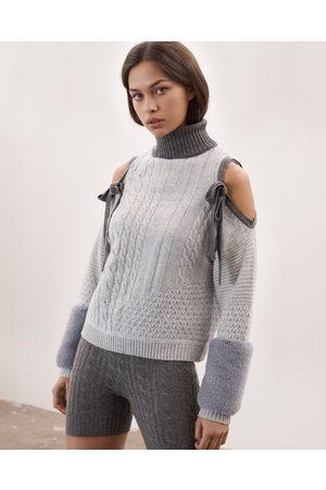 Izaak Azanei Grey Cold Shoulder Faux Cuff Knit Sweater