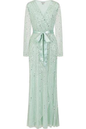 Frock and Frill Hadriana Sage Embellished Maxi Dress With Wrap Detail