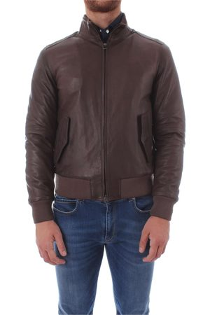 Gran Sasso Men Leather Jackets - MEN'S U10M0031BROWN LEATHER OUTERWEAR JACKET