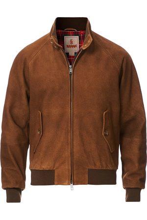 Baracuta Men Leather Jackets - G9 Harrington Jacket Winter Suede Tobacco