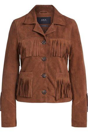 SET Women Leather Jackets - Set Suede Fringed Jacket