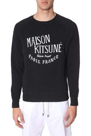 Maison Kitsuné Men Sweatshirts - MAISON KITSUNÉ MEN'S AM00300KM0001BLACK COTTON SWEATSHIRT