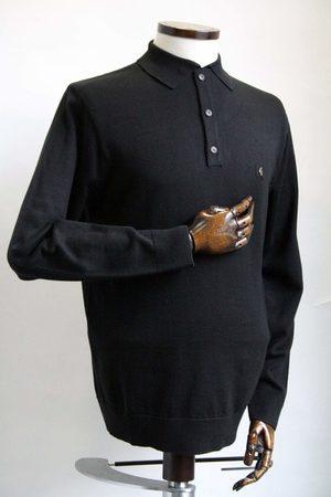 Gabicci Francesco Black Long-Sleeved Knitted Polo Shirt