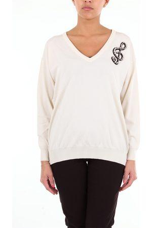 Moschino Women Long sleeves - Long-sleeved beige v-neck sweater
