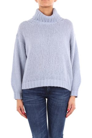 PESERICO SIGN Sweater with high collar in sky color