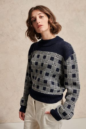 LE MONT SAINT MICHEL MSM Graphic Check Sweater - NAVY / OFF-WHITE