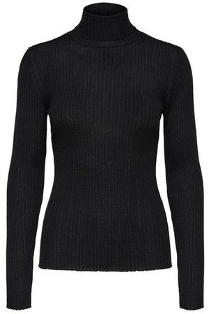 Selected SLFCosta Black Ribbed Roll Neck Sweater